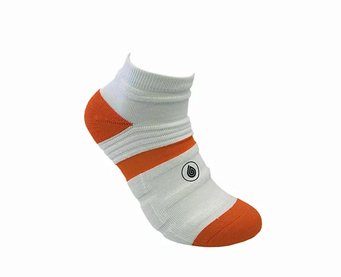 white and orange athletic socks sport pro 1 made in the usa from bamboo fiber at sleet and sole