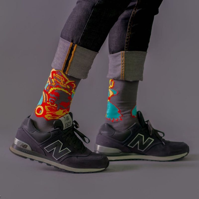 Aztec Warrior Bamboo socks made in the usa sleet and sole inspired