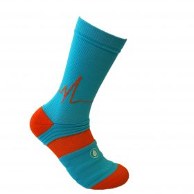 blue and orange athletic socks sport pro 2 made in the usa from bamboo fiber at sleet and sole