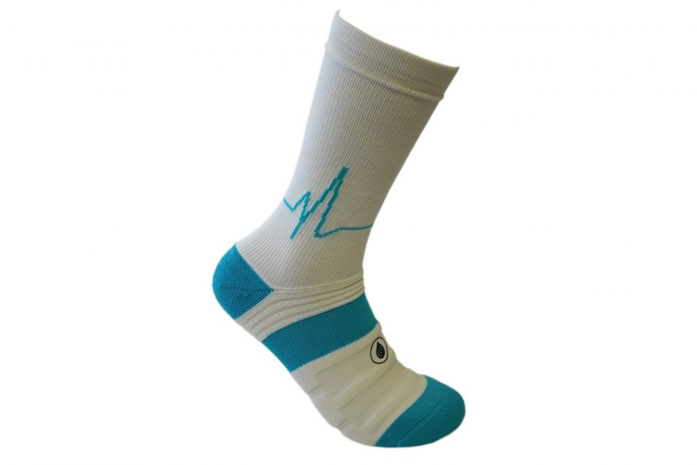 white and blue athletic socks sport pro 2 made in the usa from bamboo fiber at sleet and sole