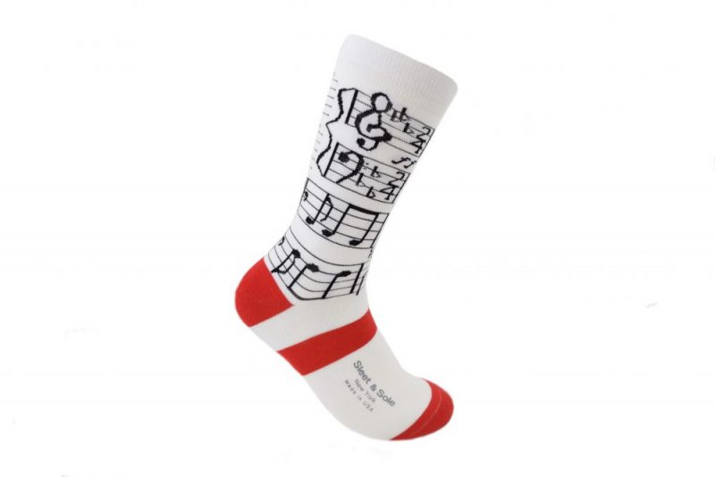 white and red piano bamboo socks made in the usa at sleet and sole