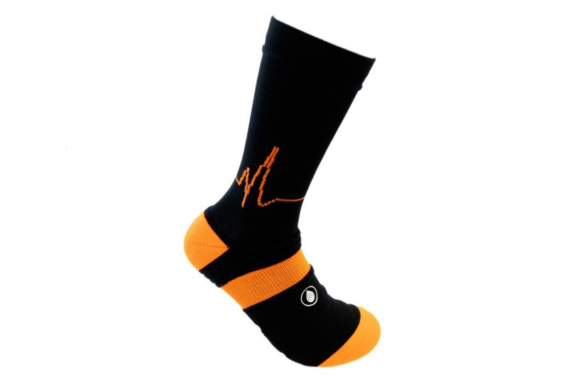 black and orange athletic socks sport pro 1 made in the usa from bamboo fiber at sleet and sole