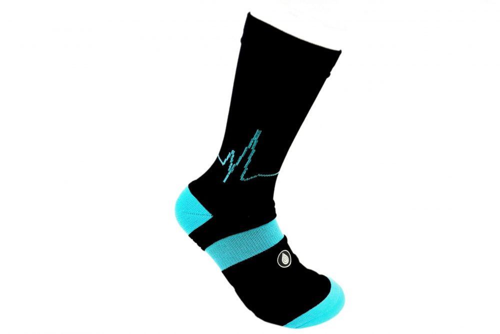 Black and blue athletic socks sport pro 2 made in the usa from bamboo fiber at sleet and sole