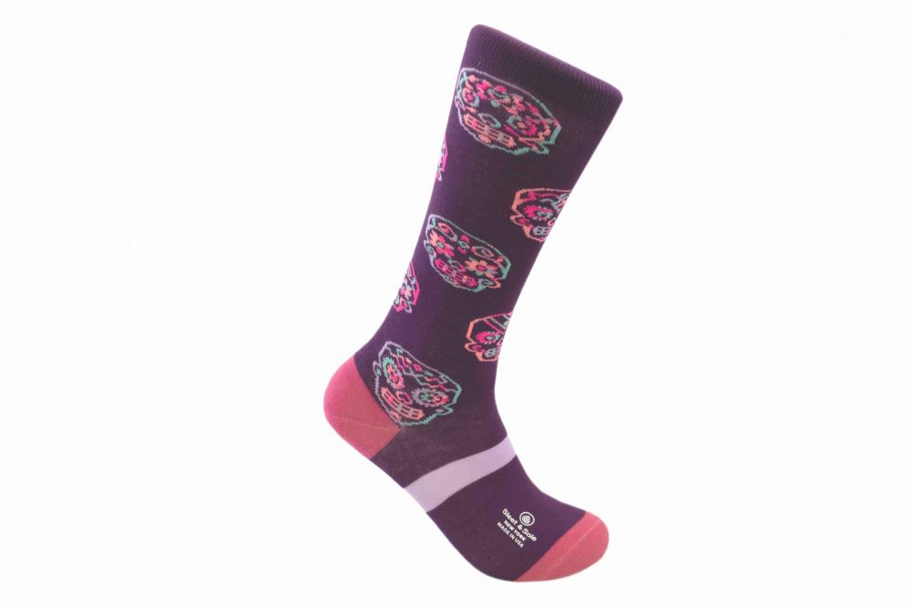 sugar skull bamboo socks made in the usa at sleet and sole