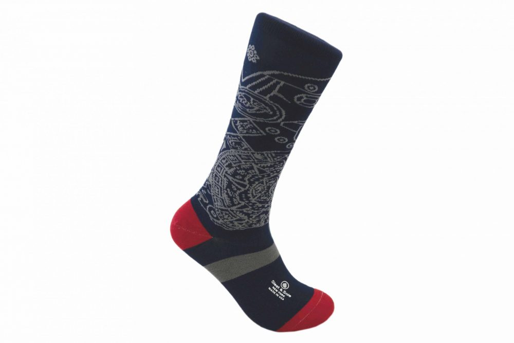 Aztec Calendar repreve socks made in usa sleet and sole