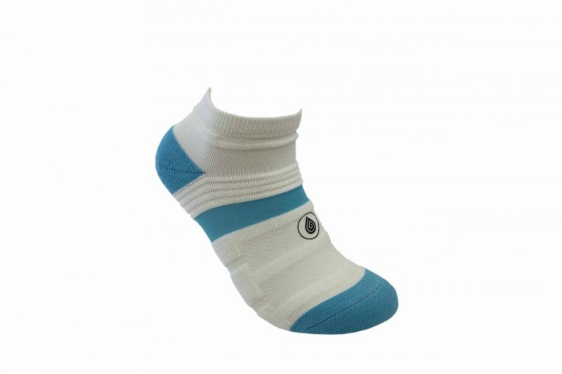 white and blue athletic socks sport pro 1 made in the usa from bamboo fiber at sleet and sole