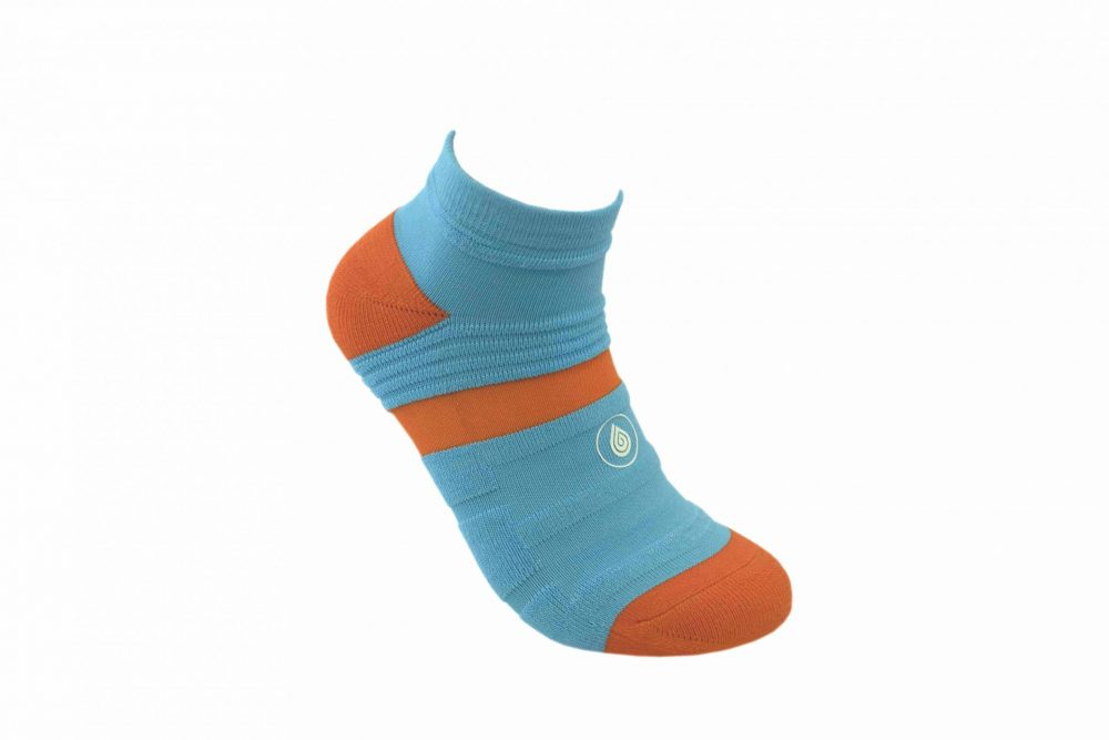 blue and orange athletic socks sport pro 1 made in the usa from bamboo fiber at sleet and sole
