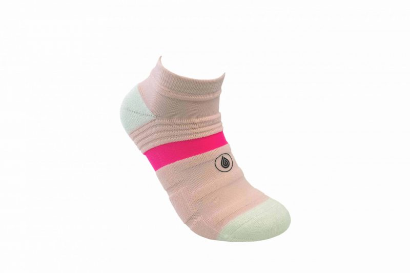 white and pink athletic socks sport pro 1 made in the usa from bamboo fiber at sleet and sole