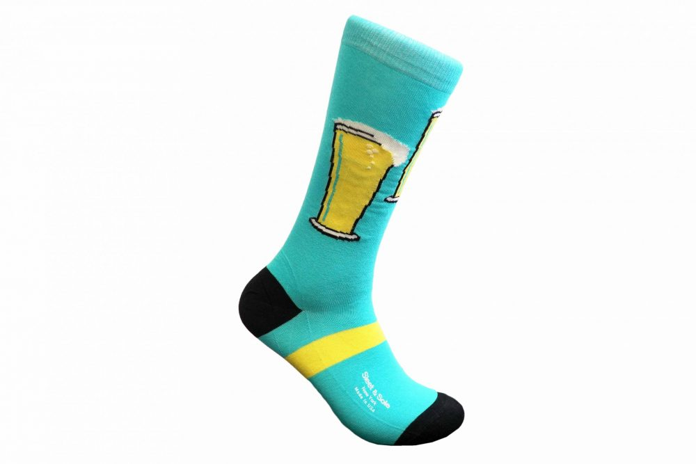 beer glass bamboo socks made in the usa at sleet and sole factory