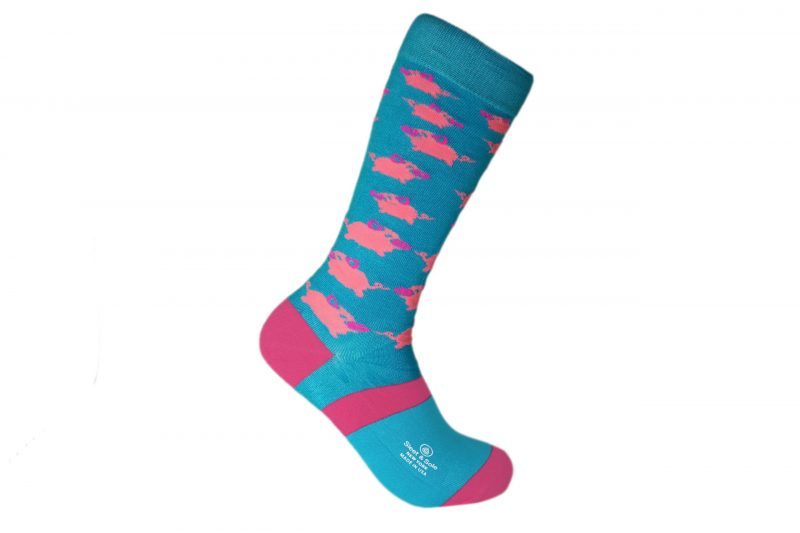 blue and pink pigs bamboo socks made in the usa at sleet and sole