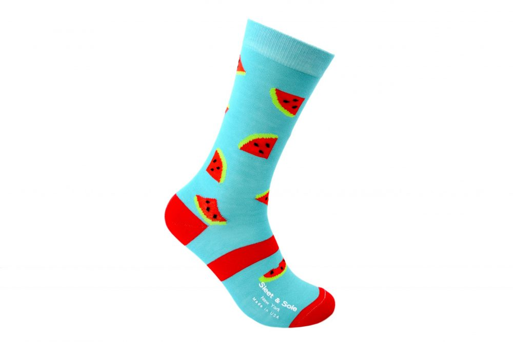 blue and red watermelon socks from bamboo material sleet and sole