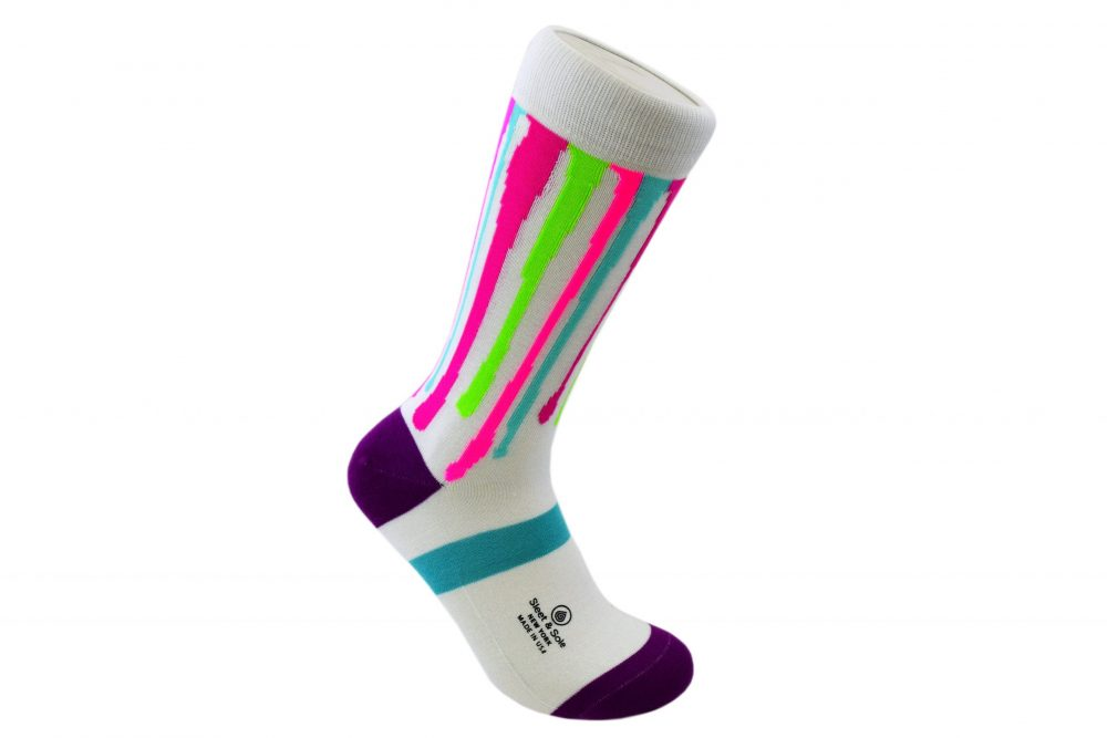 colorful Dripping Paint Bamboo Socks made in the usa at sleet and sole factory