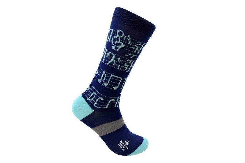 blue sheet music socks sleet and sole