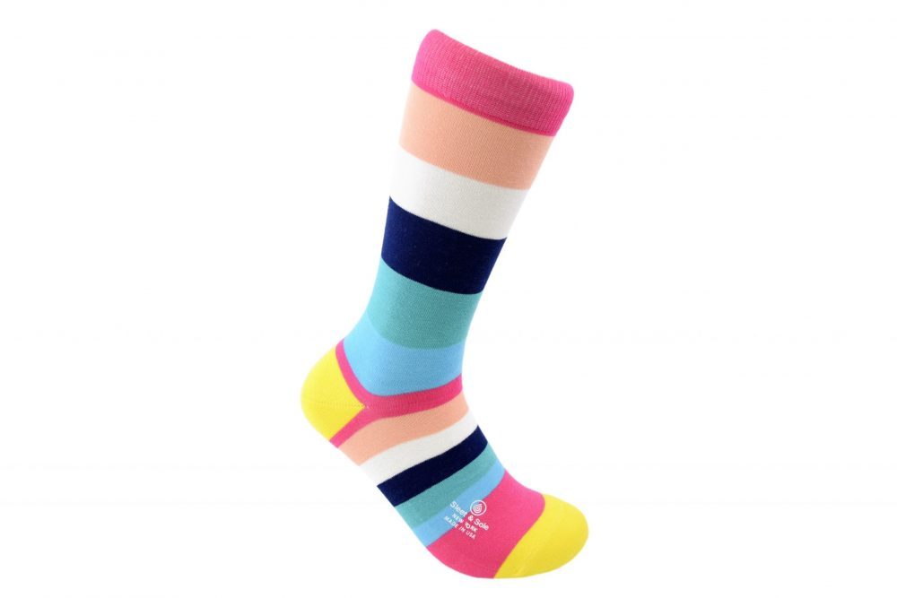 stripes bamboo socks made in the usa at sleet and sole