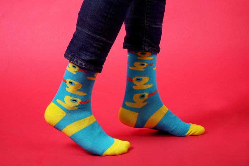 blue and yellow duck bamboo socks sleet and sole