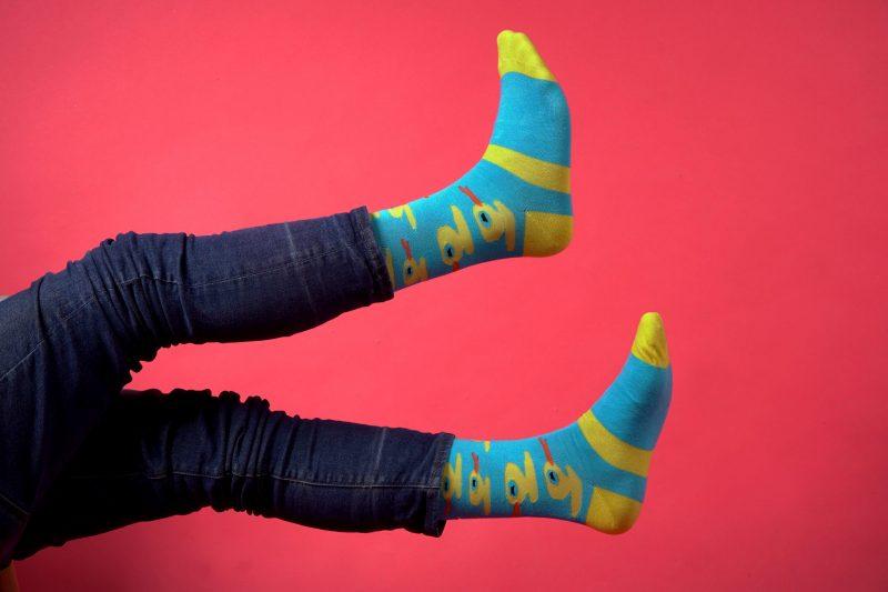 blue and yellow ducks bamboo socks sleet and sole