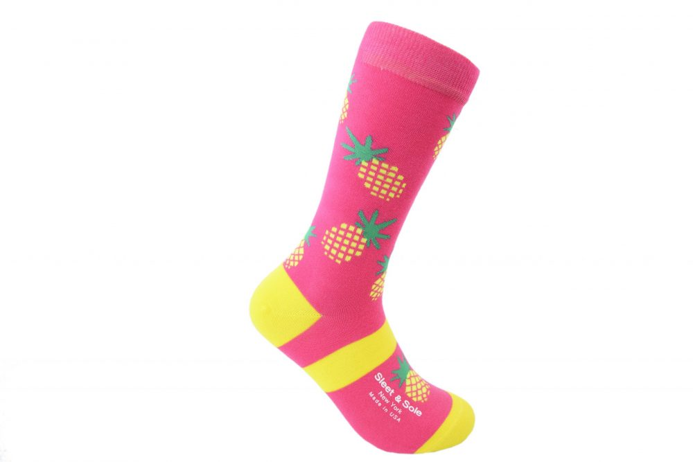 pink pineapple bamboo socks made in the usa at sleet and sole
