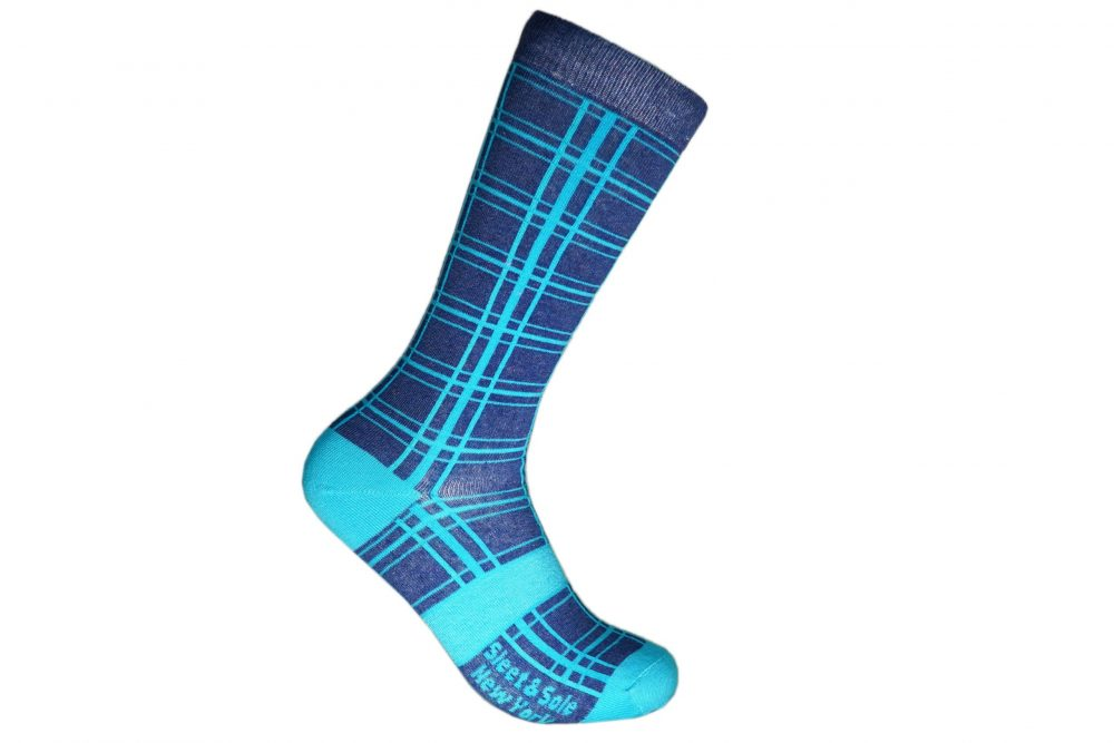 blue line recycled socks made in the usa from recycled plastic bottles at sleet and sole