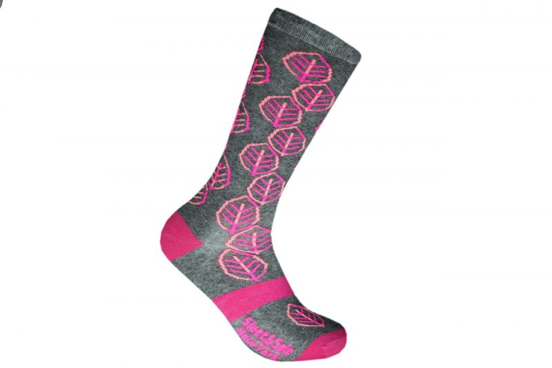 pink leaves recycled socks made in the usa from recycled plastic bottles at sleet and sole