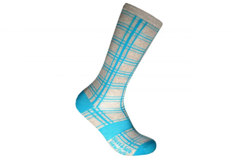lino three line plaid recycled socks made in the usa from recycled plastic bottles at sleet and sole