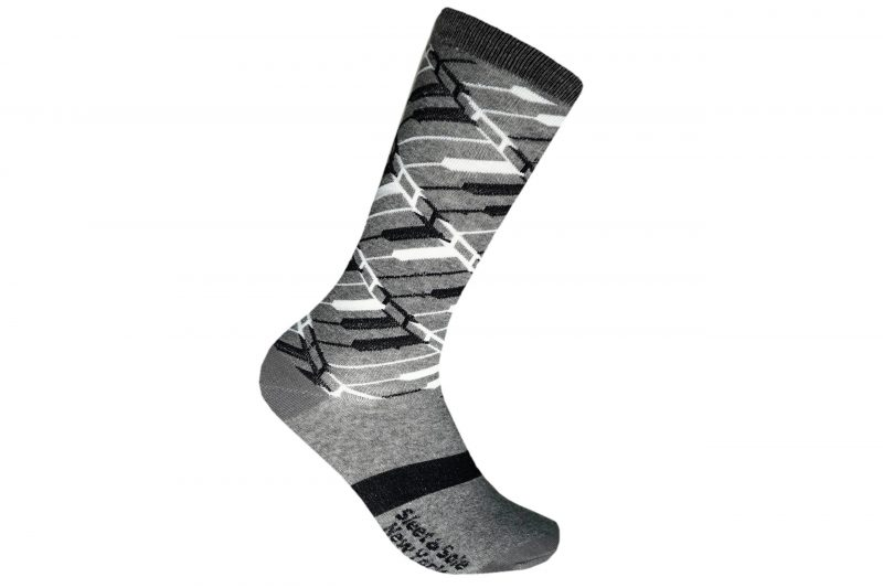 piano recycled socks made in the usa from recycled plastic bottles at sleet and sole factory