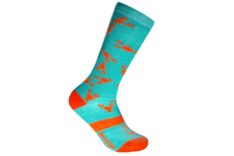 lobster animal recycled socks made in the usa at sleet and sole factory