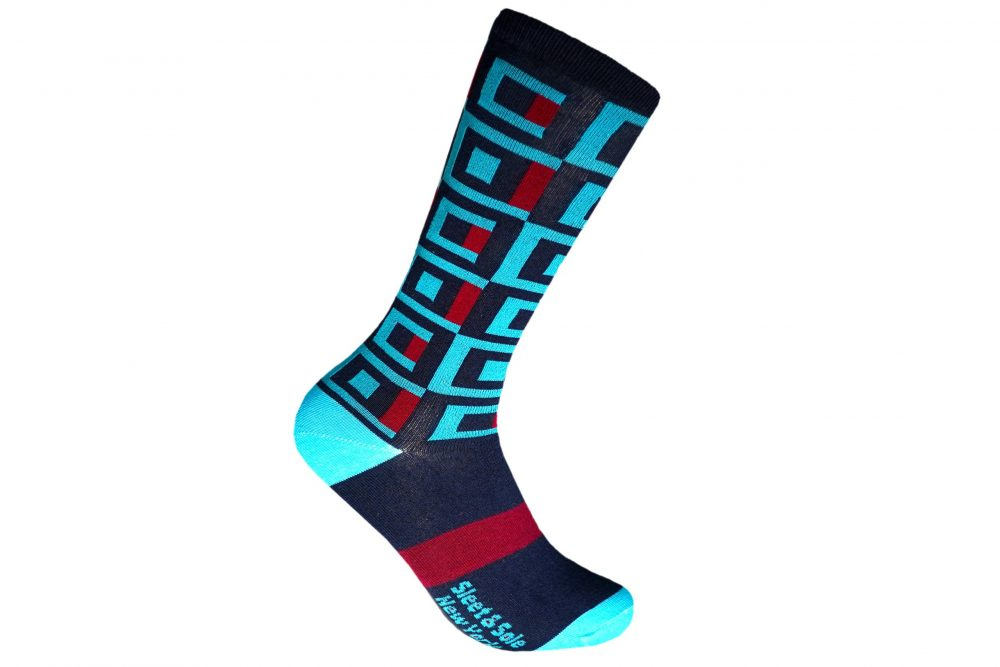 Square recycled socks made in usa from recycled plastic bottles at sleet and sole factory