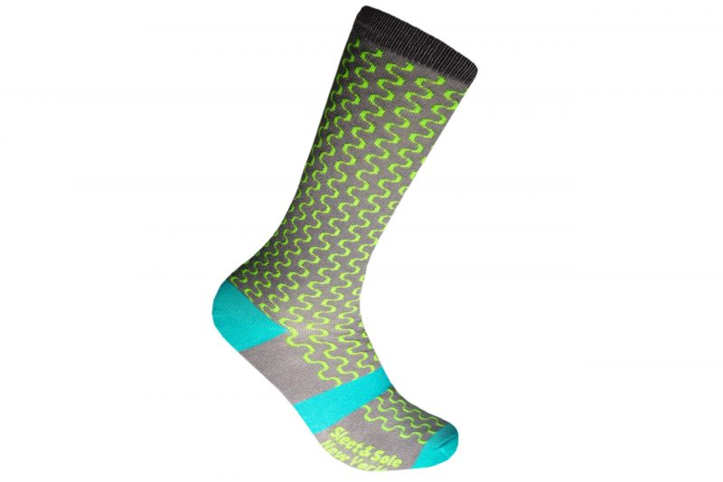 Neon Squiggle Recycled Socks made in the usa from recycled plastic bottles at sleet and sole factory