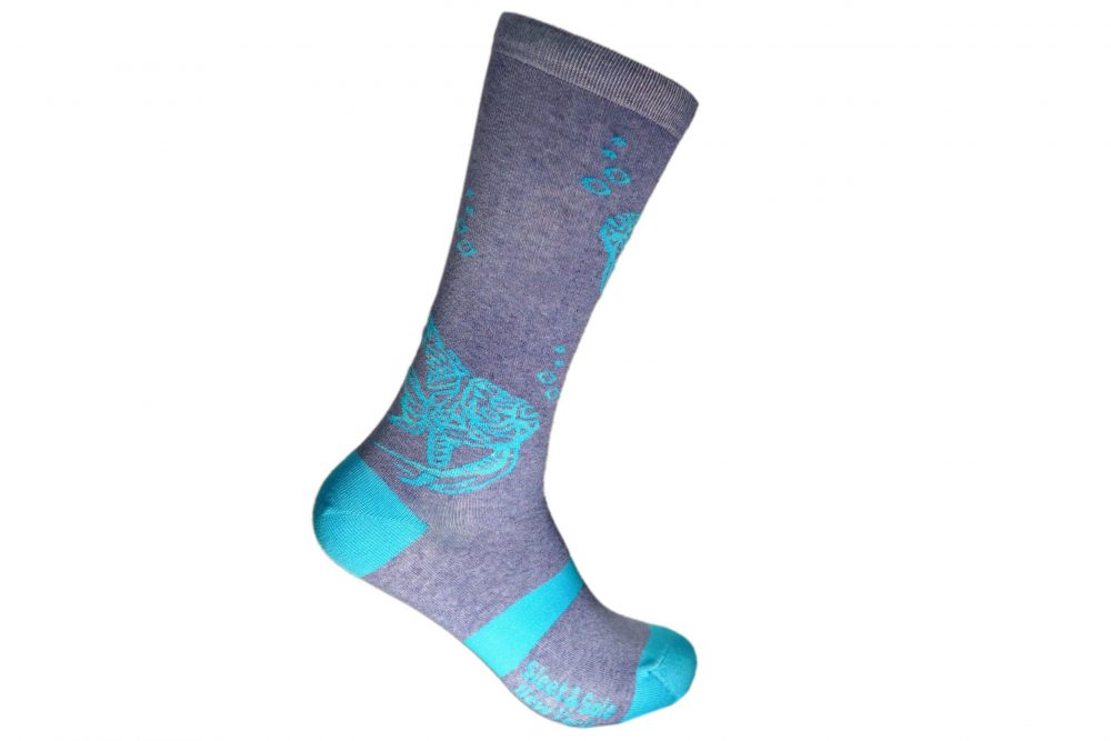 artisanal fish recycled socks made in the usa from recycled plastic bottles at sleet and sole factory