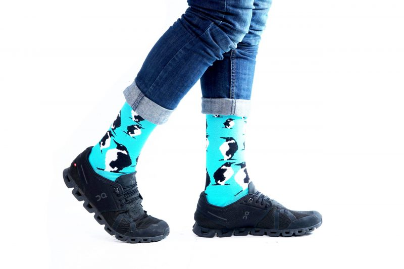 blue penguin animal fuzzy socks made in the usa sleet and sole