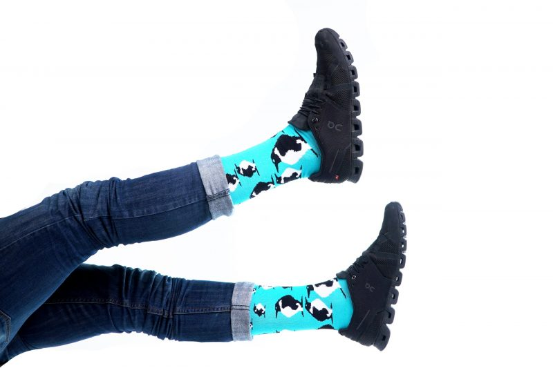 blue animal fuzzy socks made in the usa sleet and sole
