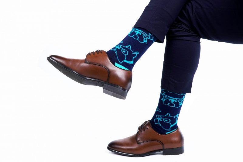 blue doggie bamboo socks made in the usa at sleet and sole