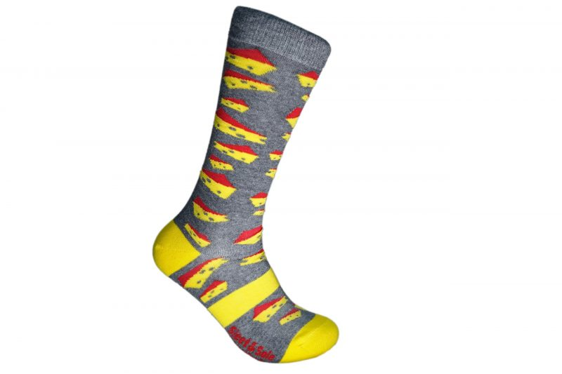 gray and yellow cheese recycled socks made in the usa from recycled plastic bottles at sleet and sole
