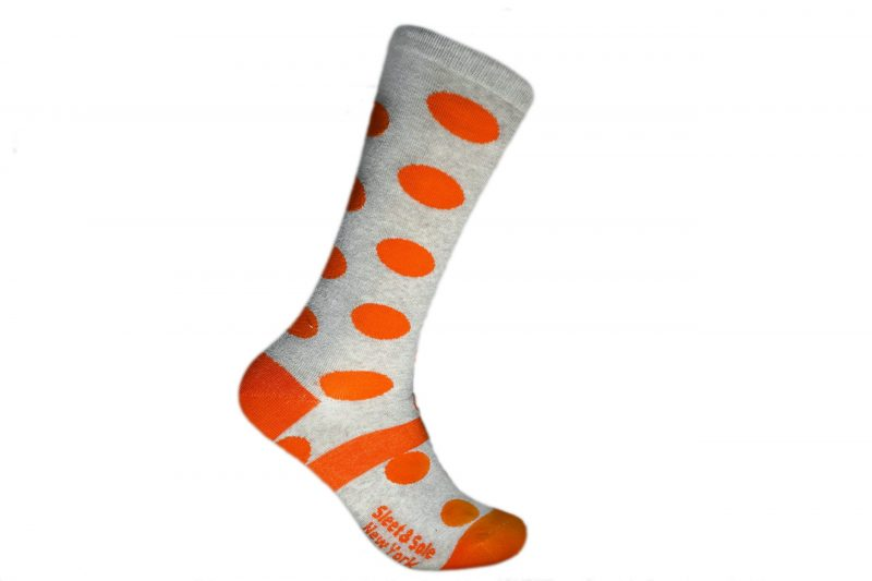 orange polka dots recycled socks made in the usa at sleet and sole