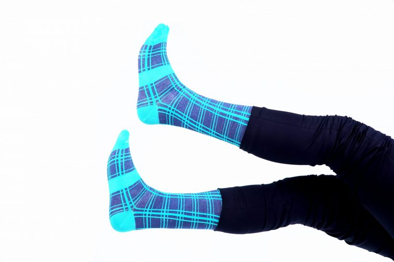 blue three line plaid recycled socks made in the usa from recycled plastic bottles at sleet and sole
