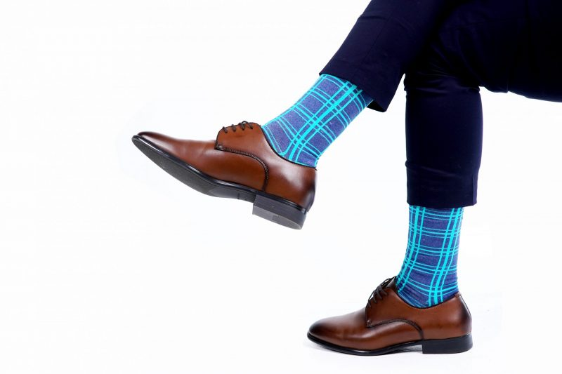 three line plaid recycled socks made in the usa from recycled plastic bottles at sleet and sole
