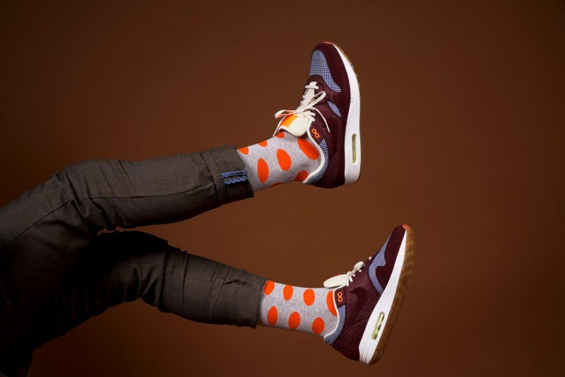polka dots socks from bamboo material sleet and sole