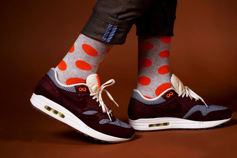 gray and orange polka dots socks sleet and sole