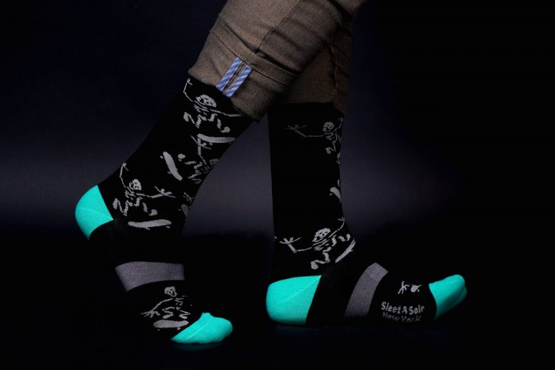 black skeleton skater recycled socks made in the usa from recycled pastic bottles at sleet and sole