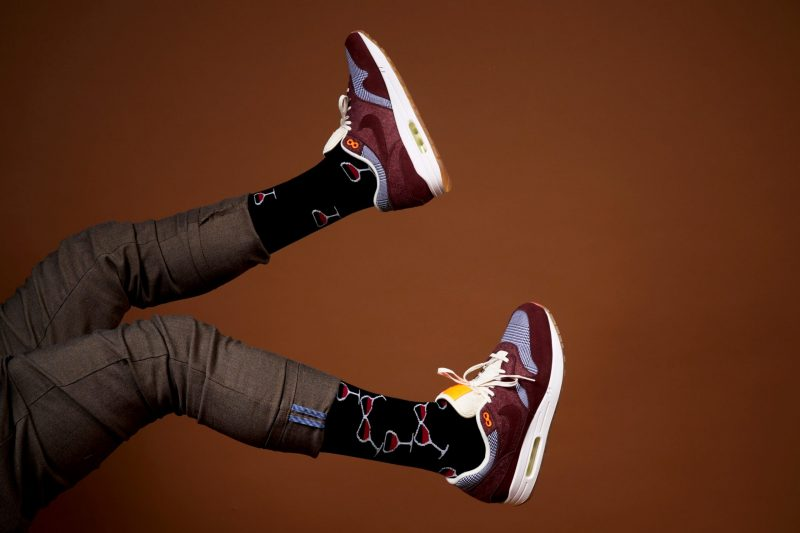 Wine recycled socks made in usa from recycled plastic bottles at sleet and sole factory