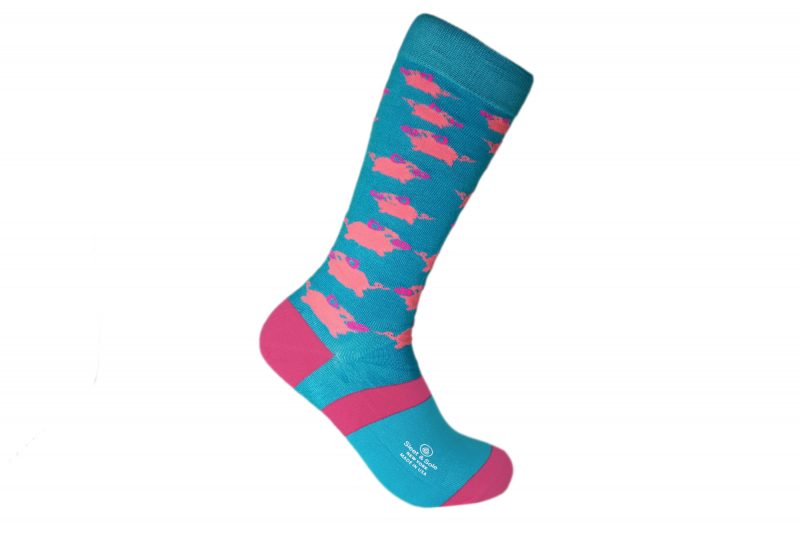 blue and pink pigs bamboo socks sleet and sole