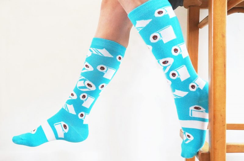blue toilet paper covid socks sleet and sole