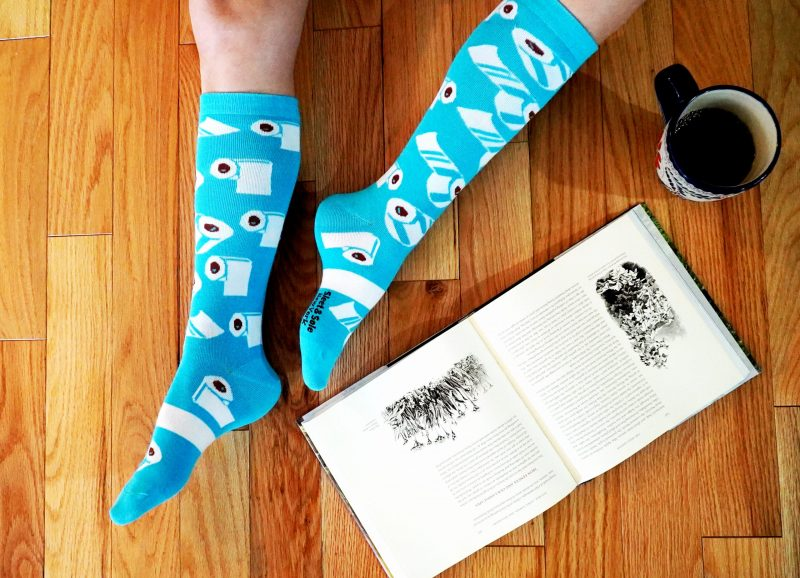blue toilet paper covid socks with book and coffee sleet and sole