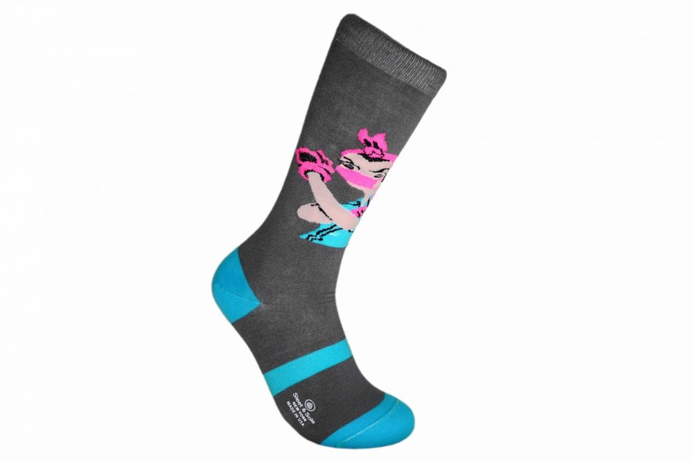 gray and blue Rosie the Riveter With Mask Bamboo Socks sleet and sole
