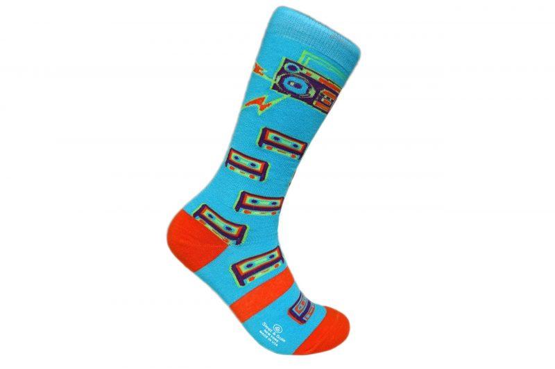 Blue Boombox Bamboo socks sleet and sole