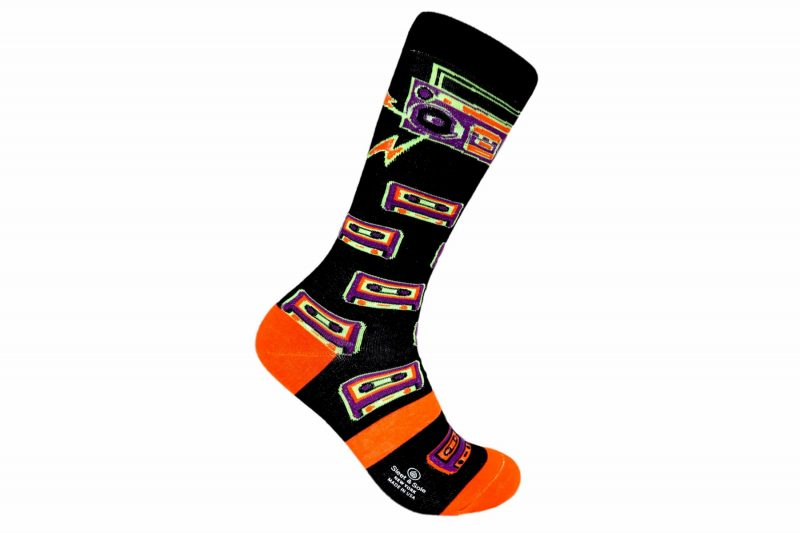 Repreve Black and orange Boombox recycled socks made in the usa at sleet and sole