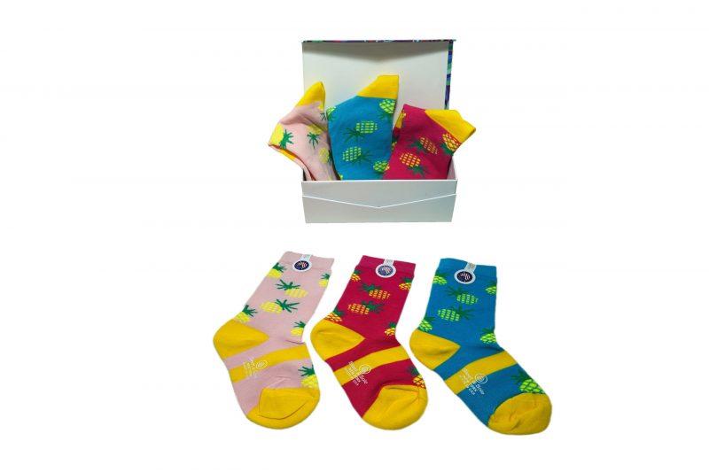 pineapple kids bamboo socks gift box sleet and sole