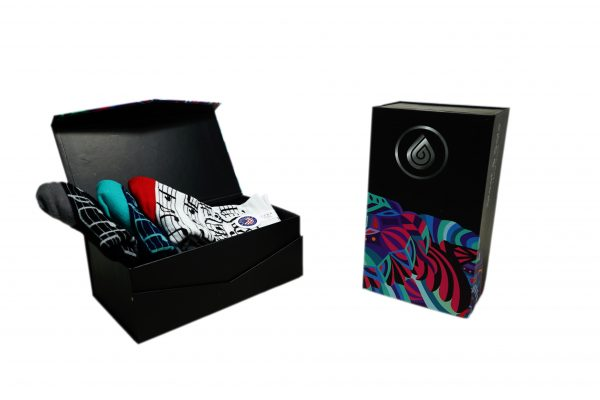 BLACK GIFT BOX 3 PACK SOCKS sleet and sole