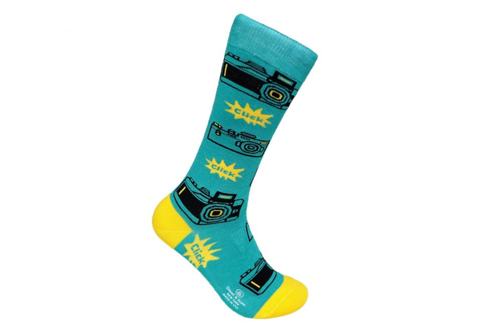 blue Retro Camera Bamboo socks made in usa sleet and sole