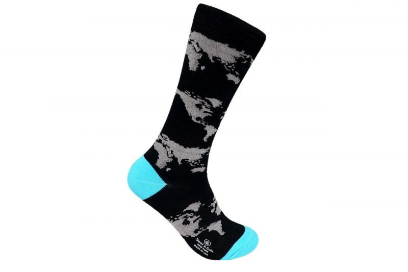 World Map Bamboo socks made in usa sleet and sole